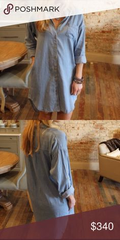 """❣COMING SOON❣Light Denim LongSleeve Chambray Dress Brand new with Tag. Dress with side pockets, long sleeves with roll tab option. Loose fit boyfriend style. Measurement laying flat: bust: 25"""" length: 37""""  Material will be add soon. It will be $34 when it's all set to list. Boutique Dresses Long Sleeve"""