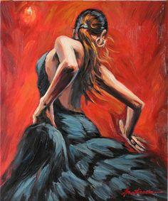 Spanish Flamenco Dancer in Black Dress Oil Painting on Canvas Wall Decor. $195.00, via Etsy.