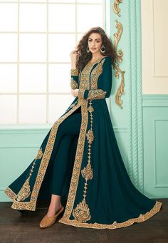 Rama Green Slit Style Embroidered Anarkali Suit is indian wear designed for festival or wedding parties. This outfit features ethnic embroidery work with zari, thread and stone detail on georgette . Anarkali Tops, Anarkali Lehenga, Long Anarkali, Anarkali Suits, Designer Anarkali Dresses, Designer Dresses, Kaftan, Traditional Fashion, Traditional Clothes