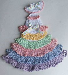 crochet caroline lady doilies | ... or Easter Theme Crinoline Lady Hand Crochet Doily w Pastel Ruffles: