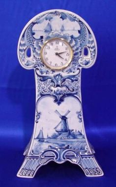 View a larger picture of Delft Clock Landscape Very Nice Blue Blue And White China, Blue China, Love Blue, Red White Blue, White Clocks, Old Clocks, Antique Clocks, Delft, Retro Clock
