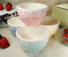 4 Piece Ceramic Ice Cream Bowl Set