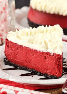This Red Velvet Cheesecake is one of the smoothest and creamiest I think I've ever made. It is insanely good and has the light tang that is so loved in a red velvet dessert. The cream cheese whipped cream on top finishes it off perfectly!