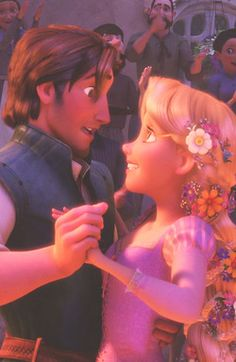 Flynn and Rapunzle -- Tangled....I love Flynn Ryder.....He is cute for a cartoon character