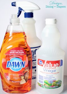 DIY Shower Cleaner - vinegar and dish soap, no scrubbing! Heat 1/2C white vinegar in m'wave for 90 sec, pour into spray bottle. Add 1/2C BLUE Dawn dish soap. Shake gently to mix. Spray on surface, let it sit 1-2 hours. Just wipe it away then rinse with water. Should also take soap scum off shower doors!