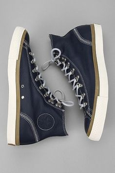 I love these, Navy leather & Army green Converse.