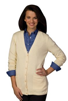Ladies Cardigan V-Neck, Long, 2-Pockets, flatters a woman's curves, cold water wash, XS-Plus Size 3XL Free shipping, custom logo embroidery True to Size Apparel