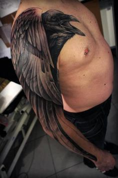 Raven tattoo sleeve. Beautiful layout of the wing with the arm. By Polak One at Harai Tattoo.