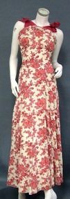 Terrific Pink Floral Printed Pique 1940's Afternoon Gown