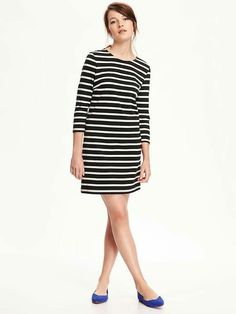 Old Navy Heavy Knit Swing Dress - Black and White Striped