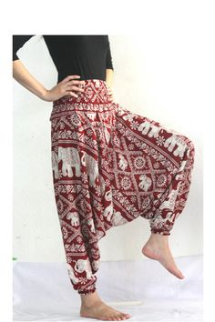 Red baggy pants palazzo pants aladdin pants harem by Nidnidshop