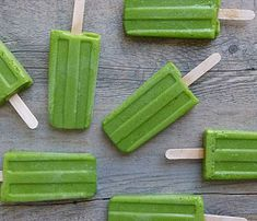 10 DIY Popsicles: Green Monster Pops. This frozen treat packs in spinach, kale, bananas and pineapple. #SelfMagazine