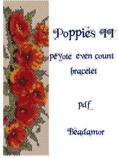 Peyote Pattern for bracelet: Poppies II INSTANT by Beadamor