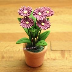 Dollhouse Miniature 1:12 Toy Handmade Flowers Purple Chrysanthemum H6.3cm SPO230