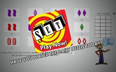 SET is a highly addictive visual perception game that will engage and entertain everyone. The FREE Daily SET Puzzle challenges users to find 6 SETs in the array of 12 cards.