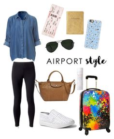 """""""Airport style"""" by melzpang ❤ liked on Polyvore featuring Jockey, Traveler's Choice, Longchamp, Ray-Ban, Steve Madden, Casetify, GetTheLook and airportstyle"""