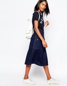 Whistles Denim Midi Skirt with Patch Pocket