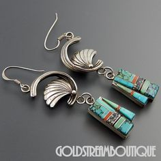 NATIVE AMERICAN MADELINE BEYUKA ZUNI STERLING SILVER GEMSTONE MOSAIC INLAY SHELL HOOK EARRINGS