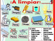 A limpiar! Vocabulario de casa ✿ Spanish Learning/ Teaching Spanish / Spanish Language / Spanish vocabulary / Spoken Spanish ✿ Share it with people who are serious about learning Spanish! Spanish Posters, Spanish Phrases, Ap Spanish, Spanish Grammar, Spanish Vocabulary, Spanish Words, Spanish Language Learning, Spanish Teacher, Spanish Classroom