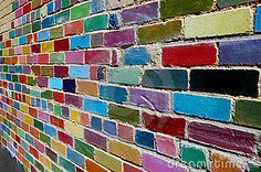 Painted Brick Wall by Louise Roach, via Dreamstime. wish I had a wall to do this to.