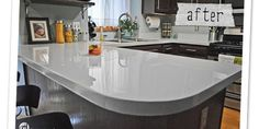 Glossy Painted Kitchen Counter Top Tutorial - This blog has lots of great DYI reno projects :)