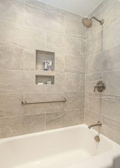 Stunning bath tub tile surround with built in niches #kitchensbykbdc #kbdcwesthartford #niches #luxurybaths