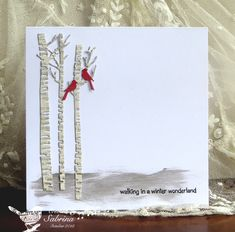 CAS Wonderland by - Cards and Paper Crafts at Splitcoaststampers Die Cut Christmas Cards, Xmas Cards, Impression Obsession Cards, Memory Box Cards, Make Your Own Card, Scrapbooking, Bird Cards, Winter Cards, Card Maker