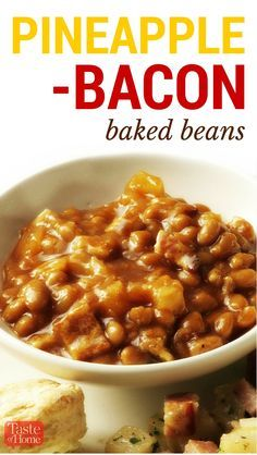 Pineapple-Bacon Baked Beans Recipe from Taste of Home | These beans are sweet and delicious, a perfect side-dish!