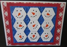 Field of snowmen Christmas card - hexagon punch, Staedtler color markers, Cuttlebug embossing folder Paper Punch, Punch Art, Cuttlebug Embossing Folders, Winter Cards, Christmas Snowman, Snowmen, Scrapbooking Ideas, Colored Pencils, I Card