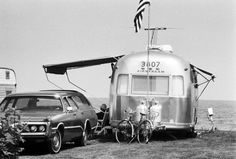 Such an evocative image, the time, the place, the sea breeze. Photo: Arthur Grace Airstream Trailer, Hampton Beach, New Hampshire 1975.