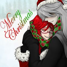 I love this ship so much I just had to do something cute and Christmassy (is that even a word?) for them c:Grell/Undertaker/Kuroshitsuji. {Grell x Undertaker} Black Butler Undertaker, Black Butler 3, Black Butler Anime, Sebastian X Ciel, Beautiful Green Eyes, Sebaciel, Shinigami, Best Black, Grim Reaper