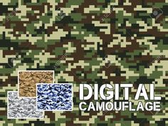 Four different colors digital camouflage military pattern for background, clothing, textile garment, wallpaper Camouflage Wallpaper, Digital Camo, Clothing And Textile, Background Patterns, Different Colors, Swatch, Logo Design, Textiles, Military