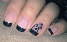 Black french manicure with accent nail
