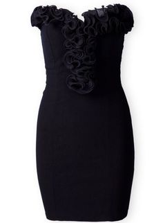 Black Strapless Ruffles Bodycon Body-Conscious Dress. Nothing beats a little black dress for an evening out!