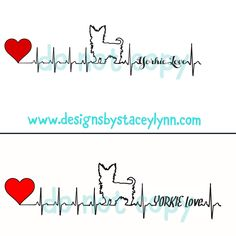 YORKIE love heartbeat decal design