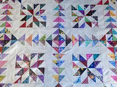 Scrappy Chasing GOOSE Quilt Top made in USA 100% cotton
