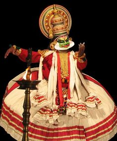 A Kathakali dancer- another traditional dance of Kerala that depicts stories.  Only males are taught the art of this dance.