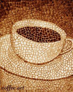 Coffee cup mosaic. painted with coffee. True Arts of Angela & Andy Sarkela Saur #CoffeeArt
