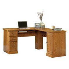 Sauder Orchard Hills Corner Computer Desk - Carolina Oak - 84 in. | from hayneedle.com