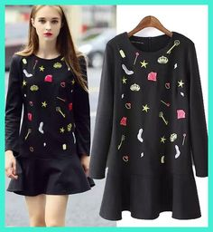 2016 Autumn Women New Fashion Casual Flouncing Embroidered Long-sleeved was Thin Slim Dress AXD1658