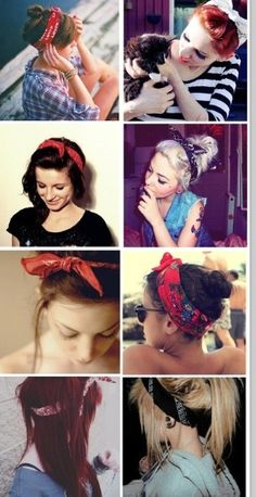 So cute for a pin up girl vibe Bandana Hairstyles, Pretty Hairstyles, Summer Hairstyles, Easy Hairstyles, Gossip Girl Serie, Pin Up, Corte Y Color, Hair Images, Hair Day