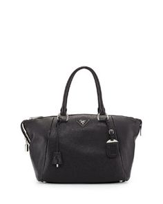 V2BC3 Prada Vitello Daino Satchel Bag, Black (Nero)