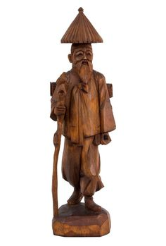 China / Korea 20. Jh. Holzfigur - A Chinese / Korean Wood Figure Ascetic Chinois