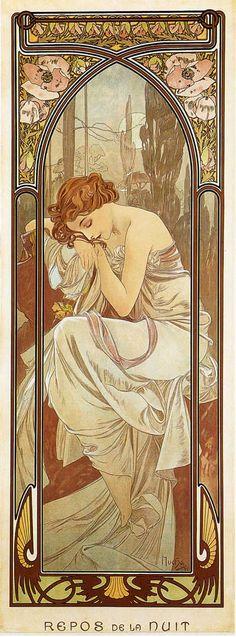 """""""REPOS DE LA NUIT"""" - Poster series: LES HEURES DU JOUR - 1899 - Colour litograph - Original Size 43 x 16in. (110 x 41cm.)"""