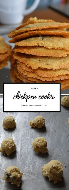 Chickpea cookie recipe that bake into thin, crispy delights filled with chocolate chips. They are gluten free, healthy and delicious. These cookies are filled with protein and fiber. Crispy Cookies, Healthy Cookies, Healthy Baking, Healthy Desserts, Cookies Vegan, Chickpea Chocolate Chip Cookies, Chickpea Cookies, Chocolate Cookies, Chickpea Brownies