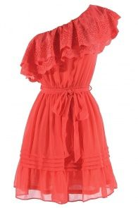 One Shoulder Chiffon Eyelet Ruffle Dress in Coral    I'm in love with this site!! Such cute dresses, and they are so inexpensive