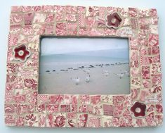 Making Mosaics with Broken Plates | Broken China Mosaic Picture Frame Red and White Toile Pique Assiette