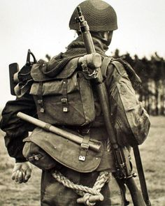British Airborne loaded down with gear. Battle of Normandy.