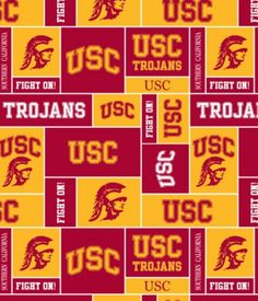 University of Southern California Trojans Fleece fabric perfect for blankets, scarf, beanies, quilt #usc #usctrojans #ncaa