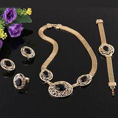 Metal Black Oval Rhinestone Necklace + Finger Ring +Bracelet + Stud Earrings Set